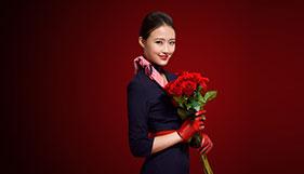 玫瑰的红,东航的美~ 东航空姐